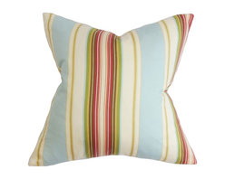 """The Pillow Collection - Douce Stripe Pillow Blue 20"""" x 20"""" - Add a colorful accent to your living space with this square pillow. This decor pillow features a combination of warm and cool hues in shades of red, green, blue, yellow, orange and white. The vibrant stripe pattern offers a fresh look to your living room or bedroom. Crafted in 100% high quality cotton fabric. Hidden zipper closure for easy cover removal.  Knife edge finish on all four sides.  Reversible pillow with the same fabric on the back side.  Spot cleaning suggested."""