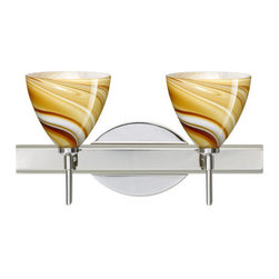 Besa Lighting - Besa Lighting 2SW-1779HN Mia 2 Light Reversible Halogen Bathroom Vanity Light - Mia has a classical bell shape that complements aesthetic, while also built for optimal illumination. This unique decor is handcrafted, with layered swirls of yellow-amber and golden-brown against white, finished to a high gloss. It's classic swirl pattern and high gloss surface has a truly florid gleam. Honey is a hand-blown glass designed to have a shiny and polished finish. The glass is gathered and rolled into shape a unique pattern is formed that cannot be replicated. This blown glass is handcrafted by a skilled artisan, utilizing century-old techniques passed down from generation to generation. Each piece of this decor has its own unique artistic nature that can be individually appreciated. The vanity fixture is equipped with decorative lamp holders, removable finials, linear rectangular housing, and a removable low profile oval canopy cover.Features: