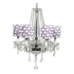 6 Light Middleton Chandelier with Lavender Drum Shades and White Pom Poms - Lovely and whimsical, this beautiful crystal chandelier would be a perfect touch to any girl's bedroom or nursery.