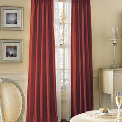 Dupioni Silk Pinch Pleat Luxury Curtain Panel, Crimson - From the Harvard University colors to the hue of the Beacon Hill brownstones, crimson is reminiscent of the city. These curtains are a beautiful way to bring this pretty shade into your home.