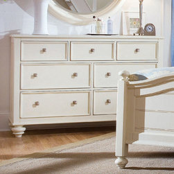 American Drew - American Drew Camden-Light Dresser in White Painted - The Camden-Light Collection melds simple forms with quiet traditional references  gentle curves and a beautiful time worn ivory finish that lets the character of the wood show through. The brushed nickel finish hardware adds even more character to the Camden collection. This line will work great in your renovated farm house or a smaller beach cottage get-away.