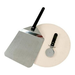 "Mr Bar B Q - 3-Piece Pizza Stone Kit - Mr. Bar-B-Q Grill Pizza Set. The taste of a brick oven pizza now cooked at home. 15"" Grill Stone Pizza Kit With swivel handle pizza peel & pizza cutter. Great for flat breads, quesadillas, soft tacos and of course pizza! Swivel handle allows for storage of the spatula in most drawers or cabinets."