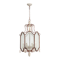 Quorum Lighting - Quorum Lighting La Maison Traditional Foyer Light X-65-6-2586 - A beautiful chandelier style shape with rustic finishes gives an almost Victorian-like appeal to this Quorum Lighting foyer light. From the La Maison Collection, it features a Manchester Grey finish with a Rust finish to highlight the other accents, giving it a shabby chic feel. Six candelabra style lights pull the look together.