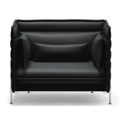 Vitra - Vitra Alcove Love Seat, Credo Anthracite Elephant - A sofa can go beyond being merely a piece of furniture and become a room of its own within a room _ this was the idea that prompted Ronan and Erwan Bouroullec to design Alcove Sofa. With its unusually soft seat and backrest upholstery, as well as the high, flexible side and back panels, Alcove Sofa creates the frame for such a comfy, safe and secure world, a place for relaxed withdrawal from the hustle and bustle of life: Two people can stretch out and sit opposite each other, leaning leisurely back against the side walls, and if required the sofa also provide sufficient space for a third person. Alcove Sofa combines the contrasting qualities of a comfortable secluded relaxation area with an open invitation to enter and sit down.