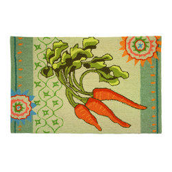 Homefires - Garden Carrots Rug - Never underestimate the power of beta carotene — even if it comes in the form of a machine washable area rug in your living space. It's a fresh reminder to eat your veggies and decorate with good health.