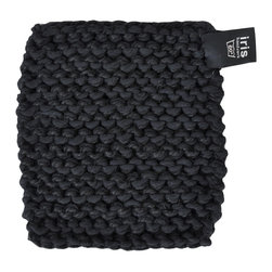 Pot Holder - Black - Hand knitted pot holder in a thick linen/cotton blend. Useful for hot oven trays, pots and dishes. Crafted by visually impaired artisans in Sweden.