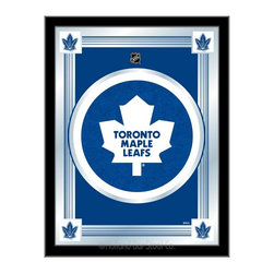 """Holland Bar Stool - Holland Bar Stool Toronto Maple Leafs Logo Mirror - Toronto Maple Leafs Logo Mirror belongs to NHL Collection by Holland Bar Stool The perfect way to show your team pride, our logo mirror displays your team's symbols with a style that fits any setting.  With it's simple but elegant design, colors burst through the 1/8"""" thick glass and are highlighted by the mirrored accents.  Framed with a black, 1 1/4 wrapped wood frame with saw tooth hangers, this 17""""(W) x 22""""(H) mirror is ideal for your office, garage, or any room of the house.  Whether purchasing as a gift for a recent grad, sports superfan, or for yourself, you can take satisfaction knowing you're buying a mirror that is proudly Made in the USA by Holland Bar Stool Company, Holland, MI.   Mirror (1)"""