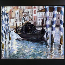 """overstockArt.com - Edouard Manet - The Grand Canal, Venice II Oil Painting - 20"""" x 24"""" Oil Painting On Canvas The Grand Canal, Venice II is an impressionist painting of one of the worlds most famous cities, Venice. Edouard Manet, a French painter, was one of the first nineteenth century artists to display modern-life subjects in his work. He was a key artist in the transition from Realism to Impressionism. Manet captured many aspects of life in his paintings such as cafe scenes, social activities, war, and even portraits. Enjoy all this artist has to offer whatever your interest may be."""