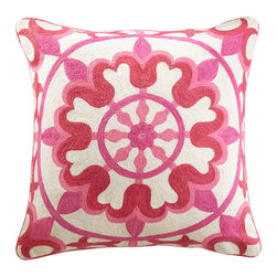 Floral Crewelwork Pillow Cover - Pink - In the Indian state of Kerala, the residents celebrate Onam for about two months to welcome the presence of the spirit of King Mahabali. They make round, elaborate, colorful rugs called pookalams, created entirely out of flowers. They truly are a sight to behold. Our floral pillow reminds us of this tradition in Kerala. The embroidery is done in a crewel stitch with wool thread. Sometimes it is good to remember that beautiful things can be made with dedication and passion.