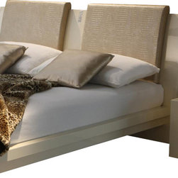 Rossetto - Diamond Ivory Pillow - Set of 2 - The slightly iridescent appearance of the Rossetto Diamond Ivory Pillow set adds an instant new look to your modern platform bed. Covered in faux crocodile ecoleather, and in a slightly darker shade than the glossy finish that defines the bed, these components are easily attached via a plastic strip to ensure they stay situated perfectly. Add a bit of a European flair with these textured and lovely optional headboard pillow choices. Made in Italy by Rossetto for those with more discerning tastes in contemporary home furnishings.