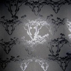 """Jill Malek - Resurrection Noir Sample - Resurrection has a 27"""" x 36"""" repeat and is a straight-across pattern match. All rolls are hand-screen printed and come untrimmed and unpasted in 27"""" x 15 ft rolls. All wallpaper is printed in upstate New York."""