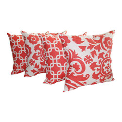 Land of Pillows - Premier Prints Gotcha Coral and Suzani Coral Decorative Throw Pillows - Set of 4 - Give your sofa, day bed, or window seat the perfect pop of cool coral with these stylishly patterned throw pillows. This set of four decorative pillows includes two with a chic geometric interlocking design, and two with a lovely floral pattern, all with a white background. These square pillows come with high quality fiber filling, and a soft cotton zipper closed cover.