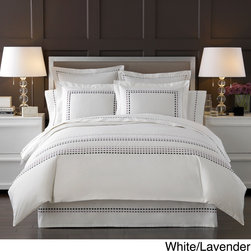 None - Ombre Box Embroidered 300 Thread Count Duvet Cover with Sham Options Sold Separa - This luxurious bedding collection is made of the finest Egyptian cotton yarns which created this 300 thread count fabric with a uniquely soft,smooth touch. The ultimate in natural fabric luxury,it's softness is incomparable.