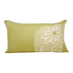 Indochine Sea Fern Swirl Pillow, Moss/Tan