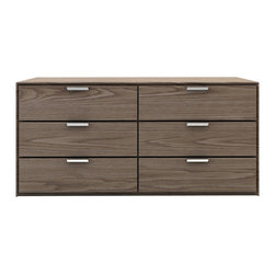 Modloft - Thompson Dresser in Walnut - Infuse your bedroom with the grace and style of this Thompson Walnut Dresser. It blends sleek, minimalist lines and chrome handles with Walnut finish to bring simply and contemporary appeal to your bedroom. Also available in white lacquer finish. Assembly required. Imported.