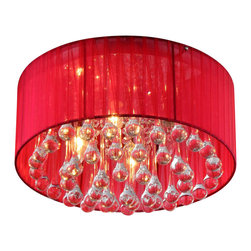 Warehouse of Tiffany - Erinyes' Red Shaded Crystal and Chrome Ceiling Lamp - Add some elegance to your home with this 'Erinyes' vibrant red shaded chandelier. This dynamic lighting element features generous rows of cascading crystals to catch the light and steal the attention in any room. Setting: IndoorFixture finish: ChromeMaterial: Metal, fabric, and glassSwitch: HardwiredNumber of lights: Three (3)Requires three (3) 60-watt bulbs (not included)Dimensions: 22 inches long x 16 inches wide x 12 inches tallThis fixture does need to be hard wired. Professional installation is recommended. Attention California Residents: This product contains Lead, a chemical known to the State of California to cause cancer and other reproductive harm.CSA Listed, ETL Listed, UL Listed
