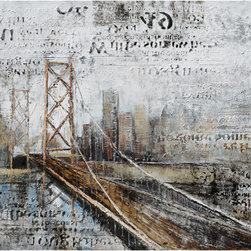 YOSEMITE HOME DECOR - Across The Bridge Art Painted on Canvas - DCA1224A is modern pop art painting and presentation of Brooklyn bridge, one of favorite themes among artists who create their art around modern cityscapes. Why is this bridge so interesting and provocative topic and so often presented in various forms of art? Probably because it is one of New York city lifelines, transferring hundreds of thousands of people and vehicles every day in both directions. This is powerful metaphor of busy life in metropolis, lack of significance of an individual in the big, busy city. DCA1224A is using combination of newspaper-like background for bridge presentation. This is perfect example of expressionist art and visualization of artist�s inner life and ideas about big city life. Painting is done in only several colors-there would really be no point in layering number of colors on graphic background done in neutral black-white newspaper style. Skyscrapers are dark but in complementary colors as the bridge itself, underlining unity of the space, the bridges connecting quality that brings together two parts of the city. River slowly flowing down under is indigo blue toward graphite black, in part being an element of newspaper-like background, in part being a cover theme but also being the one with bridge under which it flows. DCS1224A is modern painting that will perfectly fit into any minimalist modern interior, both at home, in a living room or in your office.  This work of art is hand painted on a gallery wrapped canvas and signed by the artist ensuring each piece has some subtle differences making it distinctly unique to each owner.  The high quality canvas wraps tightly around a sturdy wooden frame that will last for years to come.  The painting comes with either a pre-strewn wire or hinges on the back so that it�s ready for immediate wall mounting.  The light weight of the piece allows for easy hanging without worry of damaging your wall.  The acrylic paint creates a rich texture that will really catch the light, creating a very sophisticated allure. Each painting is carefully packaged and inspected prior to shipping, ensuring every piece arrives safely and ready to hang on your wall, making for a pleasant purchasing experience from beginning to end.