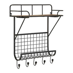 City Platform Wall Shelf - Your walls will be looking neat and tidy once you hang up this ruggedly imagined metal shelf. With two surfaces and five stylized hooks, it's a natural choice for the bath or entry.