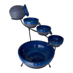 Smart Solar - Blueberry Ceramic Solar Cascade Fountain with Rustic Blue Finish - Blueberry Ceramic solar powered 4 tier cascading fountain with Rustic Brown finish. Creates a relaxing atmosphere on your patio, deck, balcony or in your garden. Recycles water from the main bowl reservoir. Operates in direct sunlight. 16.5 in. L x 13.4 in. W x 20.5 in. H. Powered by a separate solar panel with a 10 ft cable. Low voltage pump with filter. No wiring, simply install and enjoy. No operating costs. Included: Ceramic bowls and jug, Solar panel w/10ft cable, pump