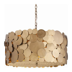 Arteriors - Ulysses Pendant - Bring a pennies-from-heaven feel to your favorite setting with this irresistible fixture. A drum-shaped shade is covered with overlapping iron disks, done in a muted gold finish, while a perforated double diffuser enhances the subtle illumination.