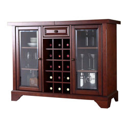 Crosley Furniture - Crosley LaFayette Sliding Top Bar Cabinet in Vintage Mahogany - Crosley Furniture - Home Bars - KF40002BMA