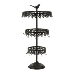 Bird 3-Tiered Metal Jewelry Holder - *Is your jewelry always in a tangled mess? Fix it with the Ave 3-tiered jewelry holder. Its different levels and hook work great fro necklace and earrings.
