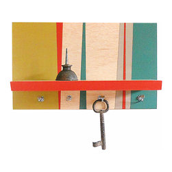 "Pig and Fish - Geometric Modern Functional Art Wall Mount Shelf Key Hooks : RETRO - This artfully designed piece can stand alone as part of your wall decor as our specialty is blending art with function.  The geometric background pattern is hand painted in diagonal shapes with the vibrant colors of chartreuse, teal, gray, and reddish orange to compliment the strips of natural wood.  The natural wood shelf is edged in the reddish orange and is nicely framed by the geometric background.  The small shelf is 11 ¾"" L x 3 ½"" D and was designed as the perfect place for your phone, wallet or glasses.  The 4 hooks below are ideal for hanging your keys, making this shelf an artful and welcome addition to your entry space.   Now, just be sure to hang your keys up so they don't end up in the wash - again!"