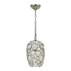 Crystorama - Palla Chandelier, Small - Your cup runneth over with dazzling light. Circles of sparkle surrounded by silver-leaf wrought iron descend from a chain like an overturned enchanted goblet — a stunning ceiling centerpiece for your decor.