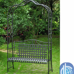 None - International Caravan Wrought Iron Arbor Bench - Create a luxurious haven in your own backyard with this elegant wrought-iron bench. Crafted with a classic lattice-back design and scroll-work accents, this comfortable cushioned bench makes a stylish focal point to your outdoor decor.