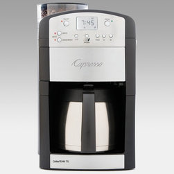 Capresso - Capresso CoffeeTEAM TS Coffee Maker Burr Grinder Combo Multicolor - 465.05 - Shop for Coffee Makers from Hayneedle.com! You're warm and perfectly comfy in bed but that alarm is set to blast in mere minutes ... the only motivation sure to propel you out of bed before that alarm is the thought of hot aromatic coffee from your Capresso Coffee TEAM TS Coffee Maker Burr Grinder Combo. And if it takes the full 10-cup capacity to get you going so be it. This coffee maker won't disappoint with a stainless steel thermal carafe that keeps coffee hot and stainless steel accents that look sleek in any kitchen. The digital control panel offers an indulgence of conveniences with an illuminated LCD display for easy reading and a programmable clock timer. Also featured are five programmable brew amounts from 2 to 10 cups and three programmable coffee strength settings for assured enjoyment.When it comes to brewing the choice is yours: You can brew your coffee with or without the grinder. This Capresso coffee maker has a built-in conical burr grinder that grinds programmed coffee bean portions directly into the filter and automatically begins brewing. The conical burr grinder includes a coffee bean container with 6-ounce capacity and five grinder settings from coarse to fine. You can make sure the ground coffee flows into the filter holder with the useful see-through window and the detachable see-through cover makes cleaning the grinder channel a snap. The slow grinding of the professional solid-steel conical burrs produces little heat and preserves more coffee aroma than any other grinder. If pre-ground coffee is more your speed simply push the filter release button to open the swing-out filter holder and add your favorite ground coffee for instant happiness.Drink your coffee with peace of mind knowing that the included charcoal water filter eliminates up to 82 percent of chlorine and other impurities from tap water. To keep up on keeping things clean the electronic indi