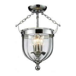 Z-Lite - Z-Lite 137SF 3 Light Semi Flush Mount Ceiling Fixture with Glass Urn Shade from - The stately Warwick family adds exquisite charm to your space. The sculpted circular glass shades are suspended from a circular iron band. Softly glowing candelabra lights are suspended within the circular glass shades. These fixtures are finished in bronze or chrome.Features: