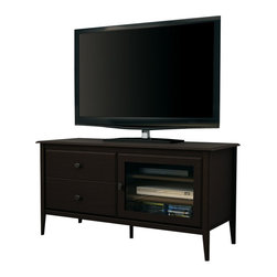 South Shore - South Shore Crescendo TV Stand in Chocolate - South Shore - TV Stands - 4759677 - The South Shore Crescendo TV Stand in Chocolate finish is characterized by its elegant solid wood legs and refined framing creating a perfect fit with transitional style decors. There are two adjustable shelves behind the glass door which allow remote signal offering the possibility of storing up to three media devices. Moreover it features integrated wire management in the back keeping wires hidden from sight. Add a touch of sophistication to your home with this TV stand which is both practical and elegant. The two drawers equipped with Dark Pewter finish metal knobs will fulfill your storage needs.