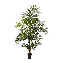 Nearly Natural - 7' Kentia Palm Silk Tree - Whether or not you're still on that tropical holiday on the beach, this lovely 7-foot tall Kentia Palm Silk Tree will certainly make you feel like you never checked out of your vacation spot.  A lively tree with thick, full foliage, those lazy island days are within your reach wherever you put this fantastic plant.  And standing 7 feet tall, this tree will announce that summer days are here once more!