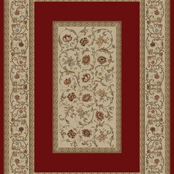 "Concord Global - Concord Global Ankara Floral French Scrolls Border Red  6'7"" x 9'6"" Rug (6230) - The Ankara collection is made of heavy heat-set olefin and has the look and feel of an authentic hand made rug at a fraction of the cost. New additions to the line include transitional patterns that are up to date in the current fashion trend. Made in Turkey"