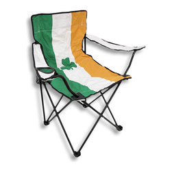 Zeckos - Irish Flag Nylon Folding Camp Chair Ireland - This super cool Irish flag folding camp chair has a heavy duty steel frame and a heavy 600 denier nylon seat to give you years of use. The chair holds up to 275 pounds easily, and has hard plastic feet to keep you sturdy. The feet have holes in the bottoms, so you can keep it in place with tent stakes if you wish. The chair measures 32 1/2 inches tall, 32 inches wide and 19 inches deep. This folding camp chair is brand new, never used, and makes a great gift for anyone who is proud of their Irish heritage. We have a limited supply of these, so don`t delay. Get yours now