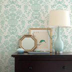 Encantada Damask Stencil - Encantada Damask Wall Stencil from Royal Design Studio Stencils. This handpainted blue allover wall stencil will brighten up your bedroom, guest room, dining room or foyer.