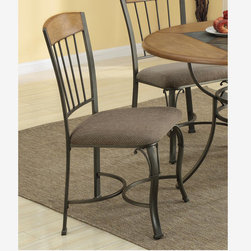 2 PC Warm Bronze Wood Metal Dining Chairs Fabric Seat Coaster 120772 - 2 Pcs Warm Bronze Chair with Fabric Upholstery