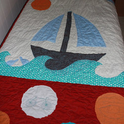 "Transportation Quilt - Twin Organic Cotton Quilt and Sham with a ""green"" transportation theme."