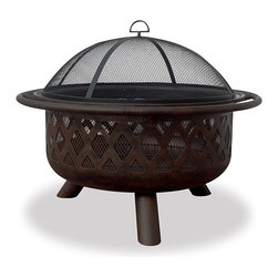 "Uniflame 32"" Bronze Fire Bowl with Criss-Cross Design - The geometric design of the Uniflame 32"" Bronze Fire Bowl with Criss-Cross Design is sure to impress all the guests who come to your outdoor entertaining area. -Mantels Direct"