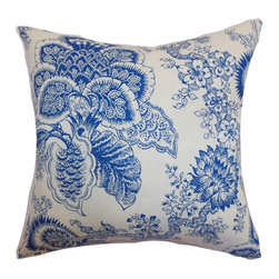 """The Pillow Collection - Paionia Floral Pillow Blue 18"""" x 18"""" - Bring a relaxing twist to your interiors by adding this pretty throw pillow. This floral accent pillow features a romantic floral print pattern in blue and set against a white background. This square pillow perfectly blends with other patterns like ikats, toiles and geometrics. This fancy decor pillow is an ideal statement piece for your furniture. This 18"""" pillow suits casual and formal decor settings. Made from 100% high-quality linen fabric. Hidden zipper closure for easy cover removal.  Knife edge finish on all four sides.  Reversible pillow with the same fabric on the back side.  Spot cleaning suggested."""