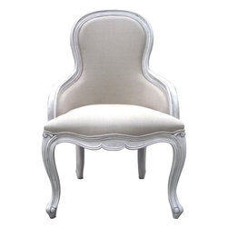 Kenza - Contemporary Armchair - Pair of Contemporary Armchair very comfortable frame is made of elmwood and fabric is linen. Has nice curved legs. French style. Seat H: 18""