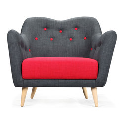 Poppy Buttons Armchair - Daring red accents make a statement on this cozy oversized armchair. The seat and button tufts stand out against the deep charcoal gray of the back and sides. The cushioned, generous seat is perfect for curling up in with a good book.