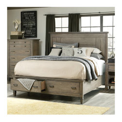 "Legacy Classic Furniture - Brownstone Village Storage Panel Bed - Brownstone Village speaks to the curator, collector and designer in all of us. To travel, collect, arrange, rearrange, to add the old with the new, the bought with the found and the passed down with the picked up along the way. The look is comfortable and uncomplicated in an aged patina finish on oak veneers. Features: -Brownstone Village collection. -Aged Patina finish. -Oak veneers construction. -3 Slats with 3 feet. -2 Storage drawers. Dimensions: -Slat to Floor: 18"". -Queen Footboard: 19"" H x 66"" W x 22"" D, 170 lbs. -King Footboard: 19"" H x 82"" W x 22"" D, 203 lbs. -California King Footboard: 19"" H x 78"" W x 22"" D, 185 lbs. -Queen Headboard: 59"" H x 68"" W x 3"" D, 89 lbs. -King / California King Headboard: 59"" H x 84"" W x 3"" D, 102 lbs. -Queen / King Bolting Rails: 12"" H x 2"" W x 82"" D, 55 lbs. -California King Bolting Rails: 12"" H x 2"" W x 86"" D, 44 lbs."
