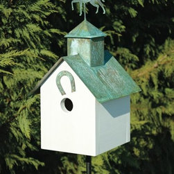 Heartwood - Sleepy Hollow Bird House Horse Heaven - This  beautiful  birdhouse  is  the  perfect  addition  to  any  home  or  garden  of  your  choice.  A  copper  roof  with  your  choice  of  verdigris  critter  and  coordinating  front  adornment  are  the  perfect  pieces  to  accent  this  home.  It  is  sure  to  please  all  family,  guests  and  visitors.  This  bird  house  is  one  you  are  sure  to  enjoy  in  the  years  to  come.  Available  in  different  designs.                  8x9x19              1-1/2  hole              Available  designs  include  loose  moose,  big  dog,  horse,  pig,  angel,  rooster  and  bear              Handcrafted  in  USA  from  renewable,  FSC  certified  wood