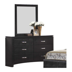 Coaster - Coaster Dylan Faux Leather 6 Drawer Dresser and Mirror Set in Black - Coaster - Dressers - 201403201404PKG