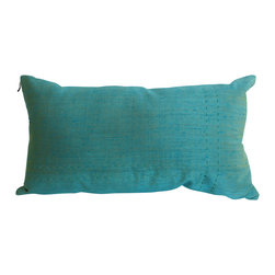 Garden Candy - Blue Silk Stitched Bed Pillow - Garden Candy's Silk Stitched Oblong Pillow is 100% silk.   Its reversible design uses the same color with both raw and smooth textures giving you optimum luxury and versatility.  The subtle horizontal stitching design makes it the perfect match for our Silk Bed Runner.