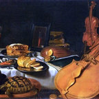 "Pieter Claesz Still-Life with Musical Instruments   Print - 14"" x 28"" Pieter Claesz Still-Life with Musical Instruments premium archival print reproduced to meet museum quality standards. Our museum quality archival prints are produced using high-precision print technology for a more accurate reproduction printed on high quality, heavyweight matte presentation paper with fade-resistant, archival inks. Our progressive business model allows us to offer works of art to you at the best wholesale pricing, significantly less than art gallery prices, affordable to all. This line of artwork is produced with extra white border space (if you choose to have it framed, for your framer to work with to frame properly or utilize a larger mat and/or frame).  We present a comprehensive collection of exceptional art reproductions byPieter Claesz."
