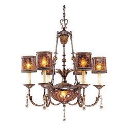 Frontgate - Sanguesa Eight-Light Chandelier - Provides ample illumination while making a brilliant focal point for any room. Features Vidrio Artistico glass. Eight-light Chandelier requires six 60-watt medium base bulbs and two 25-watt candelabra base bulbs (not included). 120V. UL listed. Classic Mediterranean style and master craftsmanship make our Sanguesa Lighting Collection breathtaking to behold. Gorgeous metalwork with a Sanguesa Patina finish pairs handsomely with pen shell shades to provide a warm, stately glow for your dining room, kitchen, entry, or other featured spot.  .  .  .  .  . One year limited manufacturer's warranty . Some assembly required . Imported.