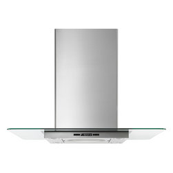"Jenn-Air 36"" Glass Collection Island Mount Canopy Hood Stainless/blk 
