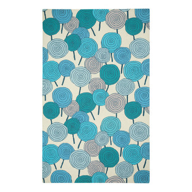Lollipops rug in Blue Green - This collection was born out of our love for color and the delight of sweetness and playfulness. Inspired by some of our favorite things, lollipops, cupcakes, and hearts are for the young and the young at heart.